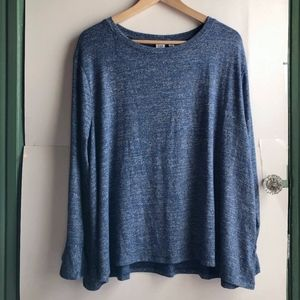GAP Blue White Gray Woven Long Sleeve Sweater Top